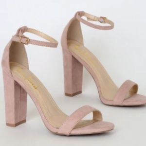 Lulus Blush Taylor Suede Ankle Strap Heels Size 5